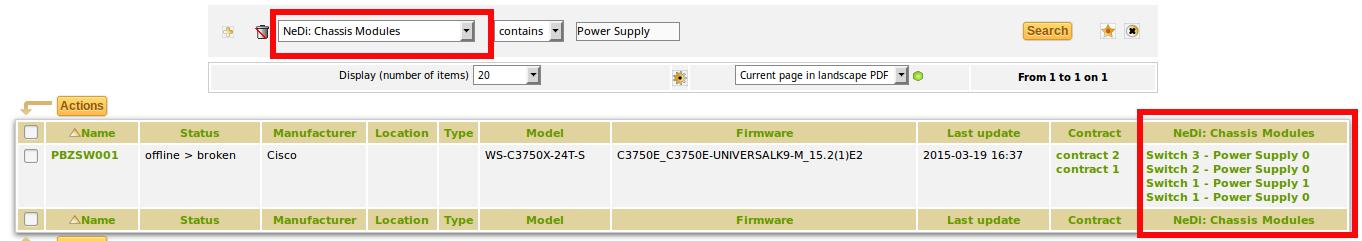 """GLPI: Auflistung der Netzwerkgeräte mit Suchtreffern nach Netzwerkmodul """"Power Supply"""""""
