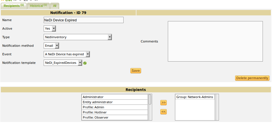 Benachrichtigungsmanagement - Benachrichtigungskonfiguration in GLPI