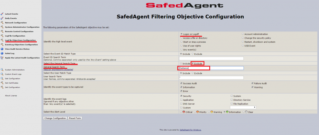 Safed Agent Filtering Objective Configuration