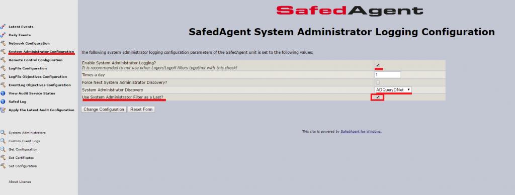 Safed Agent System Administrator Logging Configuration
