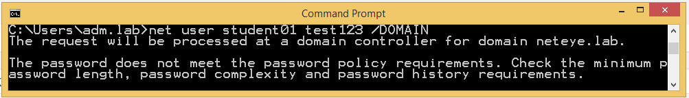 "CMD call to reset the password to ""test123"" for user student"