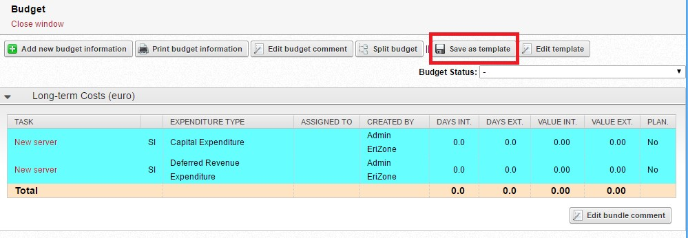 Img.2 Created budget structure. Budget structure changes can be saved as new template