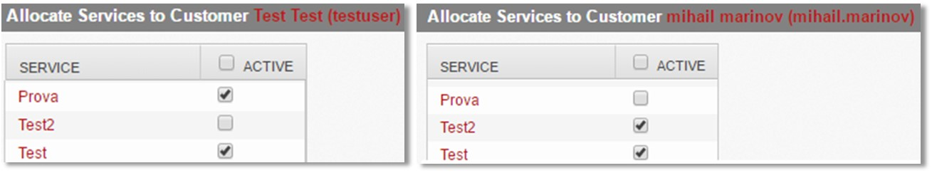 """Img.2: Services assigned to the customers """"testuser"""" and """"mihail.marinov"""""""