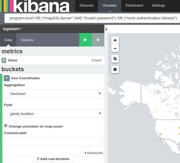 Nuova Visualization di tipo Tile map in Kibana per la geolocalizzazione
