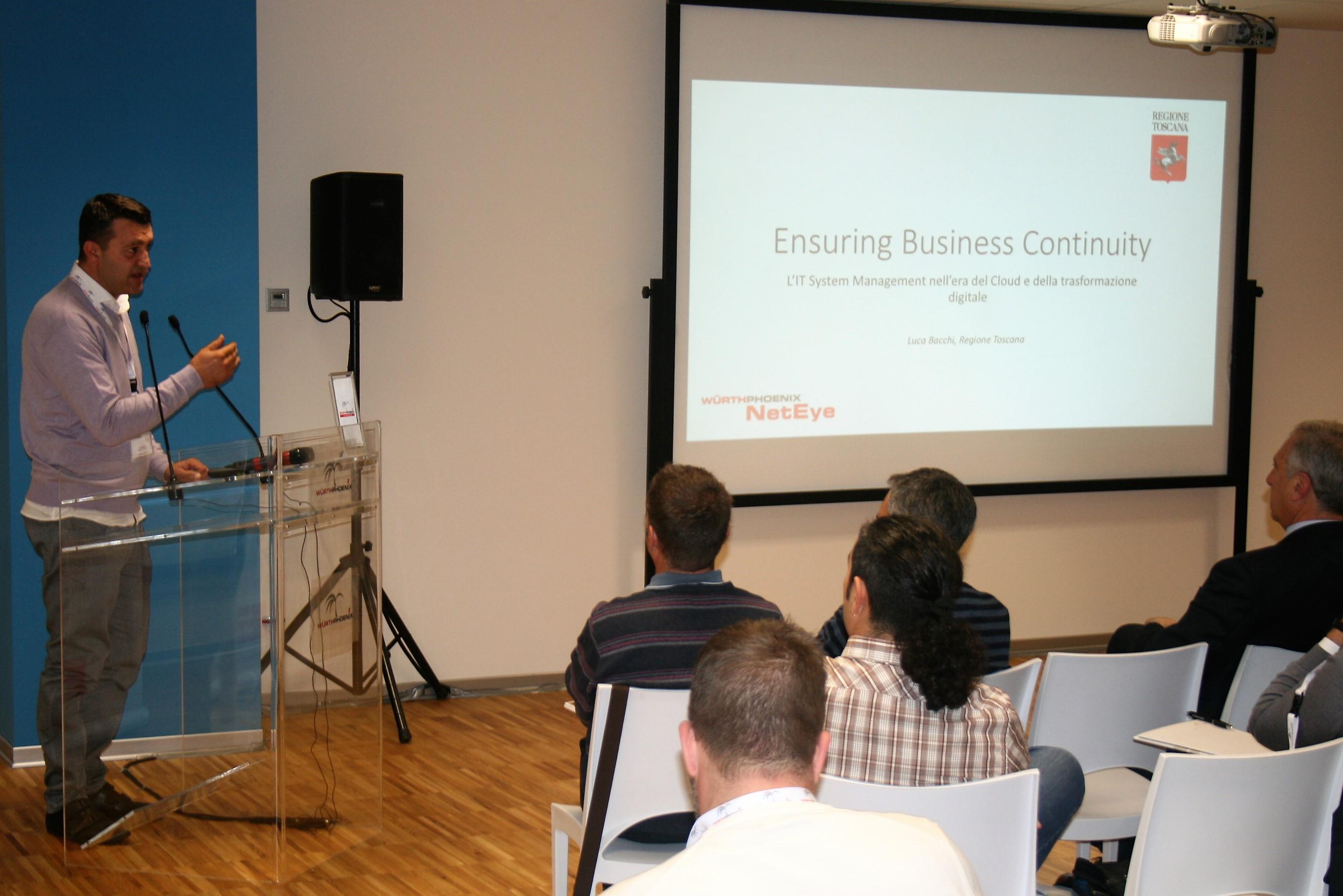 Luca Bacchi spiega come NetEye venga utilizzato per garantire la business continuity in Regione Toscana